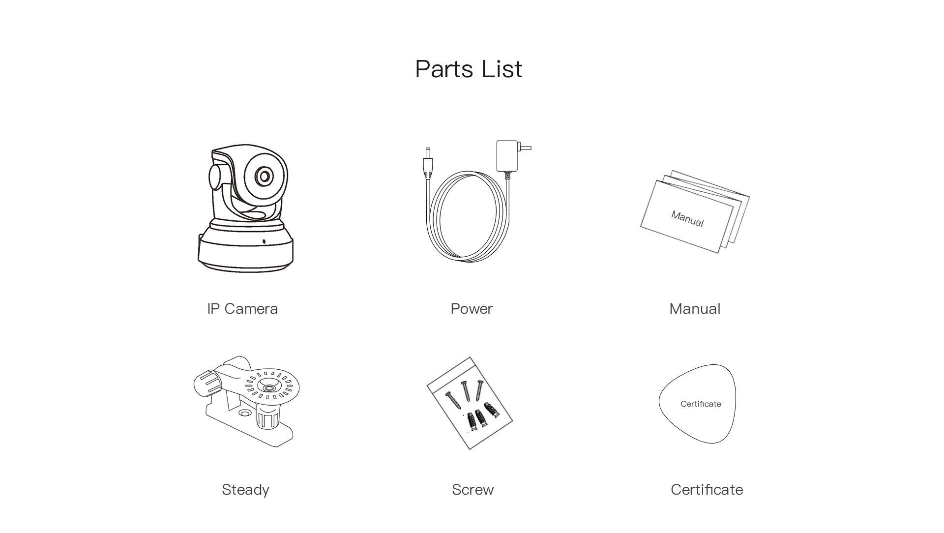 indoor security camera parts list